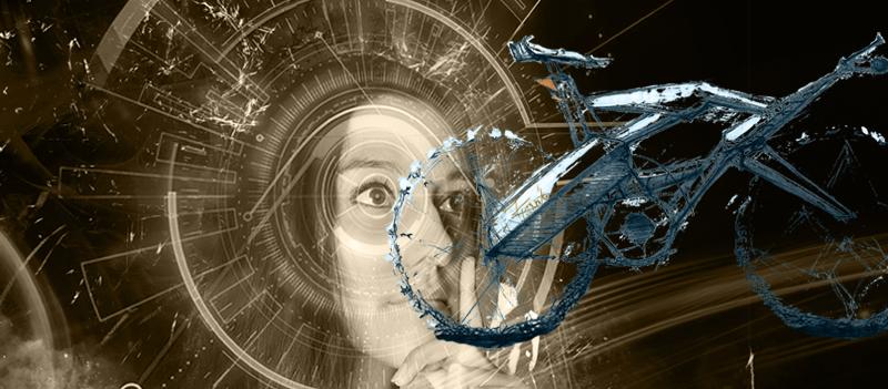 """Das digitale Pedelec: Pedelec-Entwurf auf coloriertem Bildausschnitt von """"digitales Handwerk"""", Frau beobachtet E-Bike"""