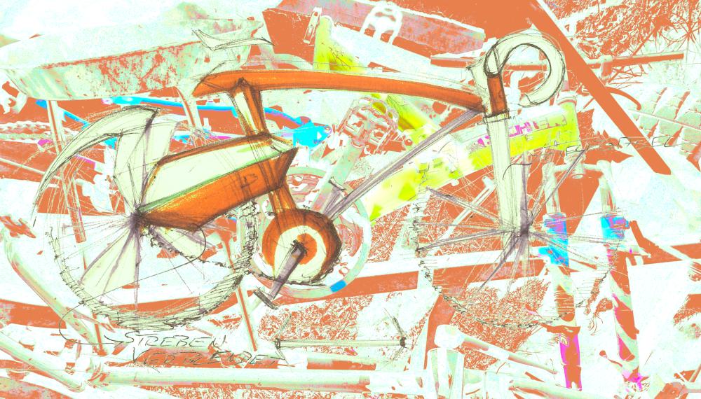 Wie verändert die Digitalisierung die Form von Pedelecs? Kollage eines kolorierten Fotos kombiniert mit einem Handentwurf eines Pedelecs____source: inhouse // form:f - critical : design