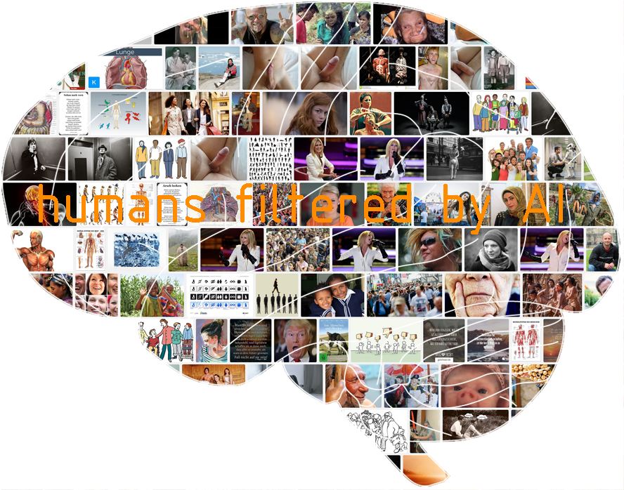kreative Köpfe von KI - kritische Collage aus Screenshot von Suchmaschinenbildergebnissen in Gehirnform geschnitten, by form:f - critical : design