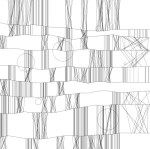 Algorithmisierung künstlerisch: algorithmisches Bild nach Frieder Nake, unterschiedliche gebündelte Zeichen auf monochromem Hintergrund