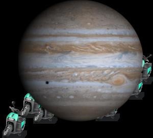 Sharing: Fotomotage vom Planeten Jupiter kombiniert mit verschiedenen Elektrorollern