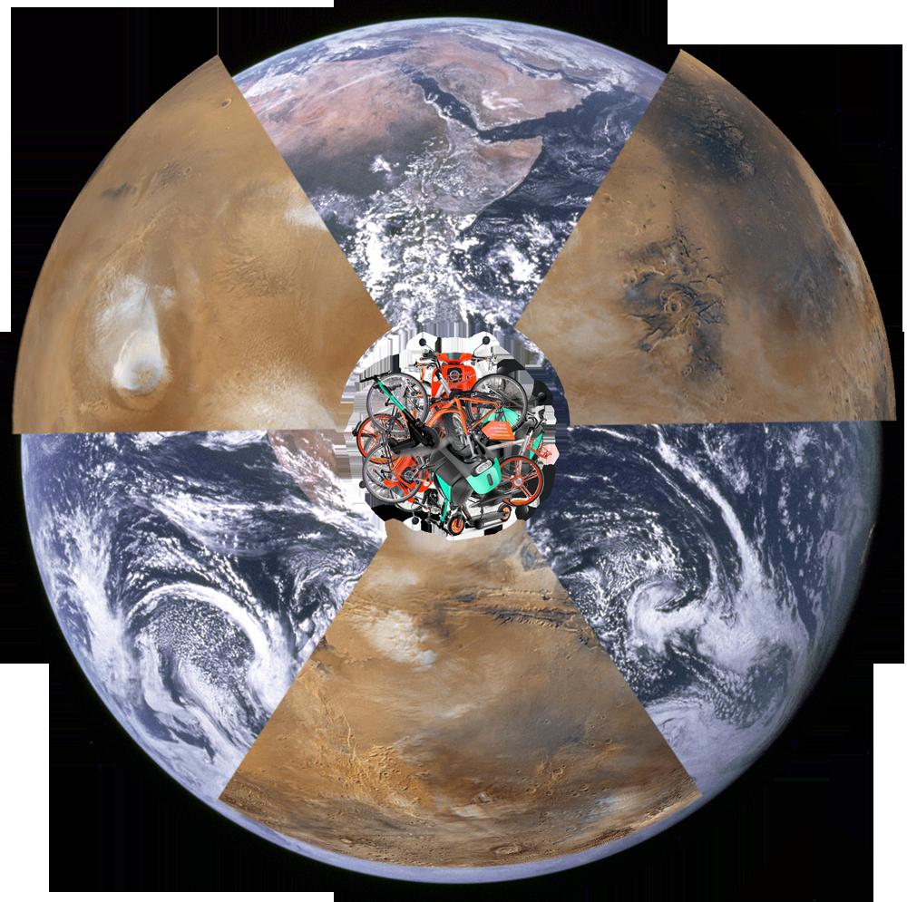 sharing: Fotomontage, die ein Foto vom Mars mit einem der Erde verschneidet. Zentriert ist ein Haufen Vehikel