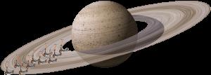 Sharing: Fotomontage eines Foto des Saturn kombiniert mit Fahrzeugen