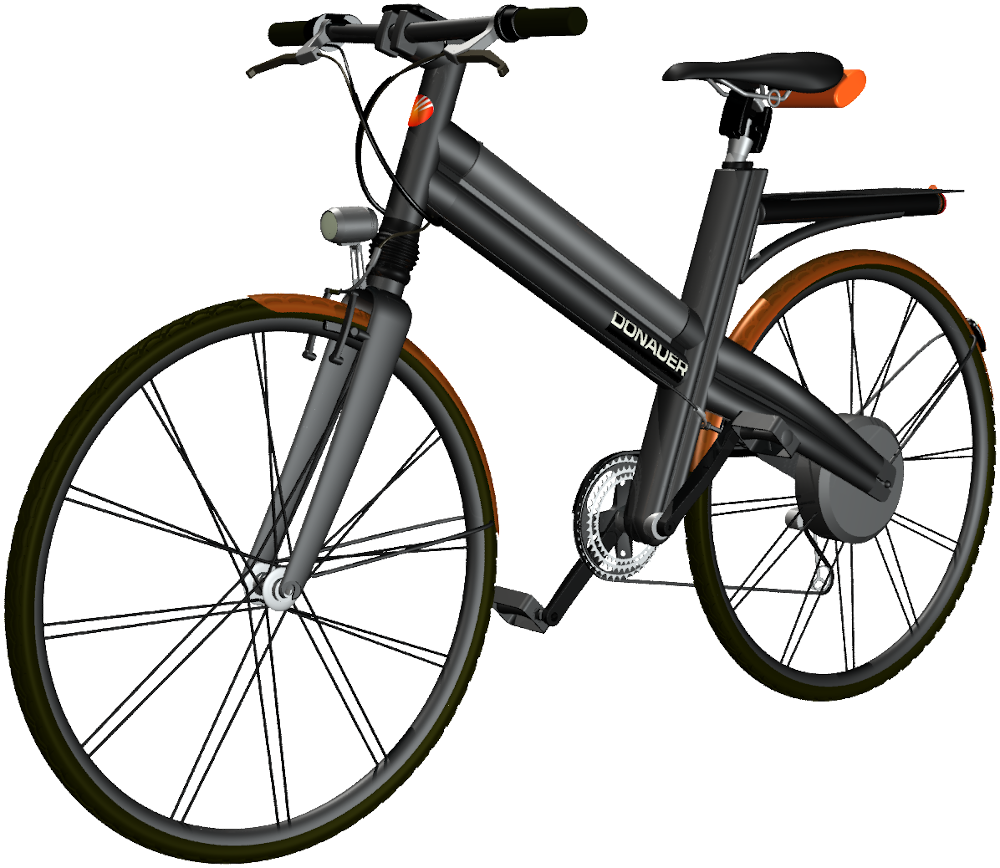 E-Bike: Konzeption eines schwarz-orangenen Unisexpedelecs, by Kerjo, form:f - industrial design