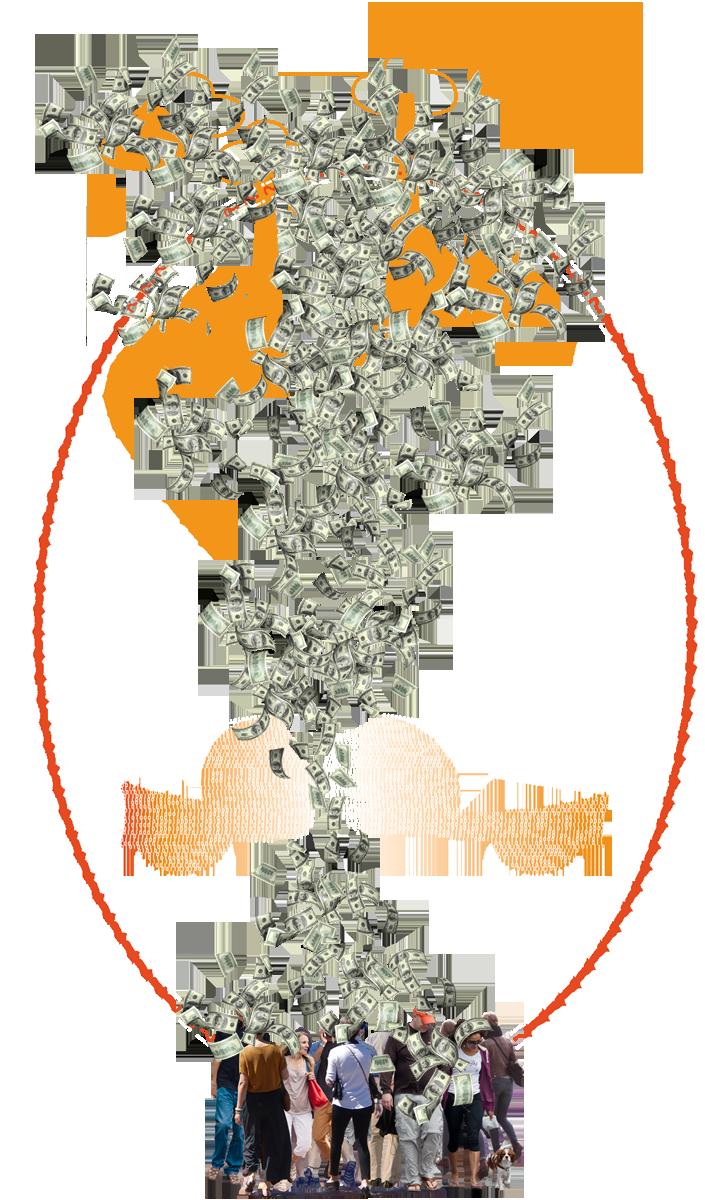 AVs - das Businesscase-Wunder // Kollage aus Geldscheinen und Fotos von Menschen by yuyun, form:f - critical design