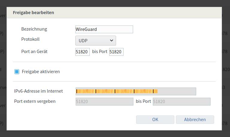 WireGuard - Freigabe in Router für Protokoll: UDP auf Port 51820