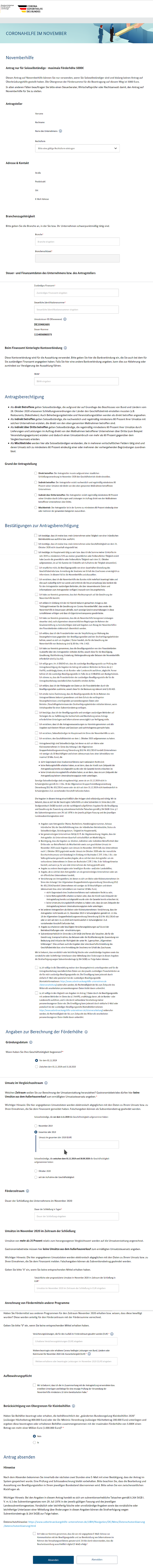 Novemberhilfe = eGovernance: Antrag auf novemberhilfe 2020
